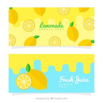 Banners de limonada en diseño plano