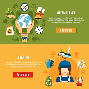 Banners de limpieza de green planet