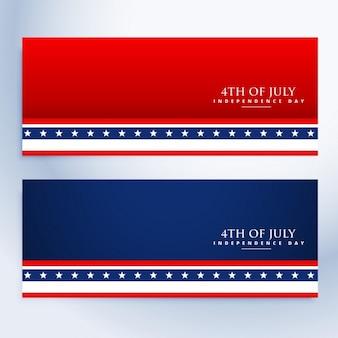 Banners limpios del 4 de julio americano