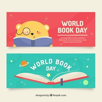Banners lindos del día internacional del libro en diseño plano