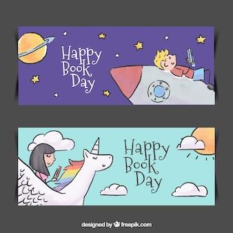 Banners lindos del día internacional del libro dibujados a mano