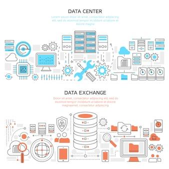 Banners lineales horizontales de centro de datos