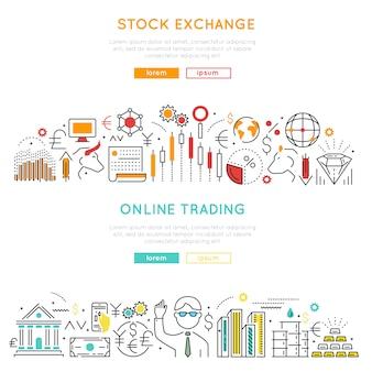 Banners lineales del mercado de valores