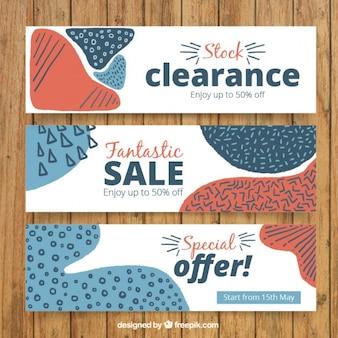 Banners de liquidación con formas abstractas