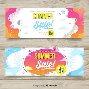 Banners líquidos de rebajas de verano