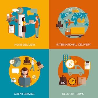 Banners logísticos concepto de entrega