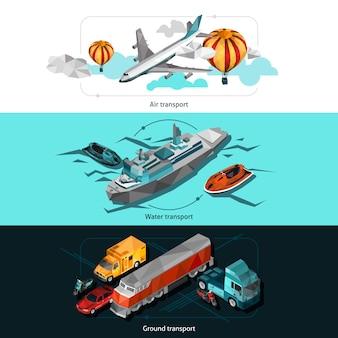 Banners de low poly de transporte