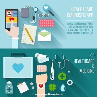 Banners de lugar de trabajo médico en diseño plano