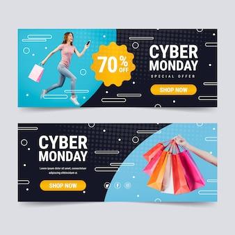 Banners de lunes cibernético de diseño plano con foto