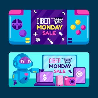 Banners de lunes cibernético de diseño plano