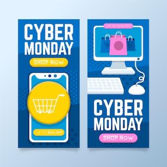 Banners de lunes cibernético en diseño plano