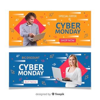 Banners del lunes cibernético con foto en diseño plano
