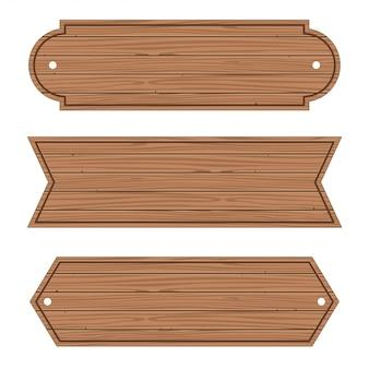 Banners de madera de dibujos animados conjunto de tablones de madera.