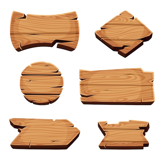 Banners de madera. letreros vacíos plantilla de textura de madera de dibujos animados en blanco. tablero de madera, letrero en blanco vacío, ilustración de placa de madera dura