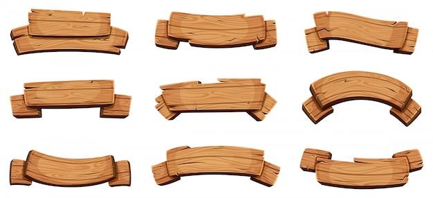 Banners de madera plantilla de diseño de letreros y paneles de dirección rústicos cintas de madera en blanco