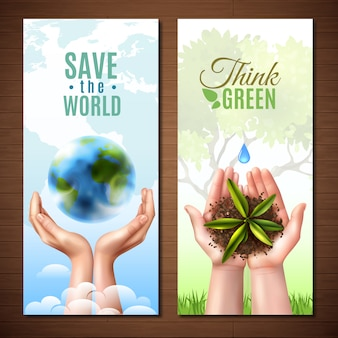 Banners de manos realistas de ecología