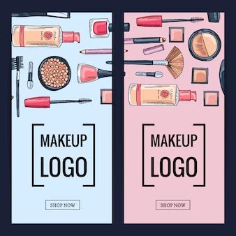 Banners de la marca de maquillaje vectorial