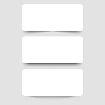 Banners de marco blanco con sombras sobre el fondo gris