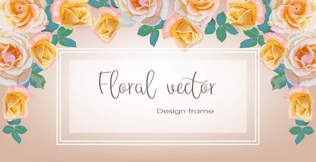 Banners de marco de ramos de flores rosas para ilustración de vector de tarjeta de felicitación de invitación