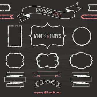 Banners y marcos de estilo pizarra