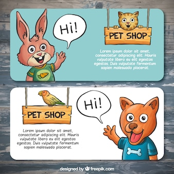 Banners con mascotas sonrientes