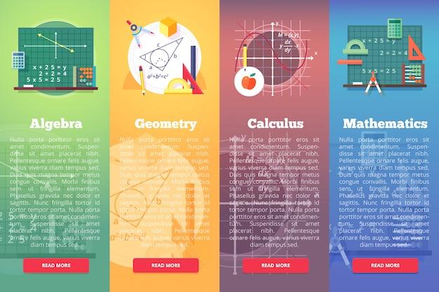Banners de matemáticas. concepto de educación de matemáticas, álgebra, cálculo. composición de diseño vertical.