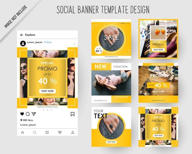 Banners de medios sociales de moda para marketing digital