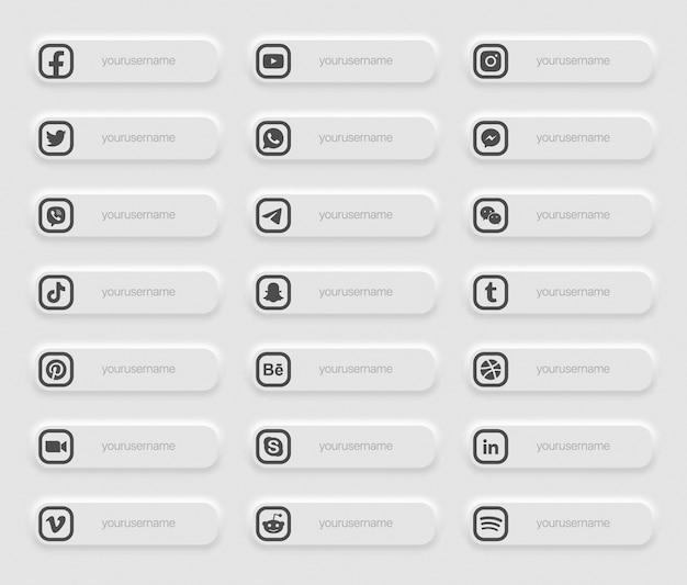 Banners medios sociales populares iconos de tercio inferior
