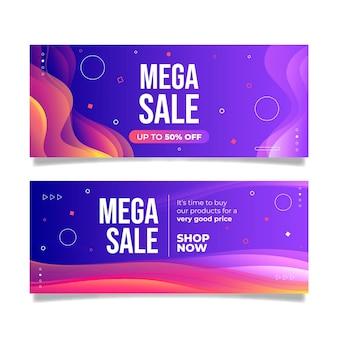 Banners de mega ventas abstractos degradados