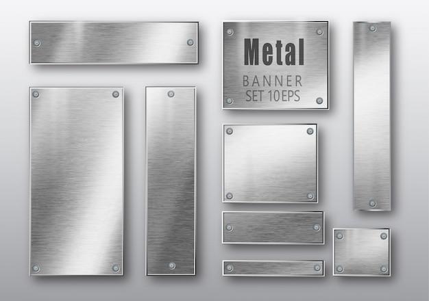 Banners de metal conjunto realista.