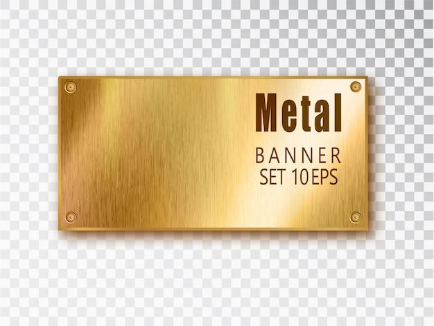 Banners de metal oro realistas. fondo de acero inoxidable.