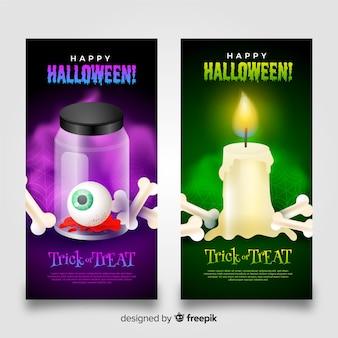 Banners de miedo de halloween con huesos