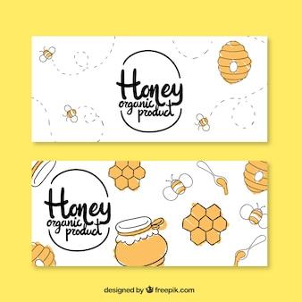 Banners de miel dibujados a mano