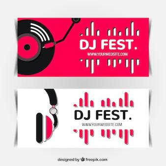 Banners minimalistas de festival de musica