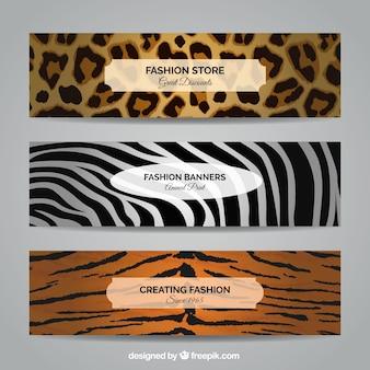 Banners de moda en estilo animal