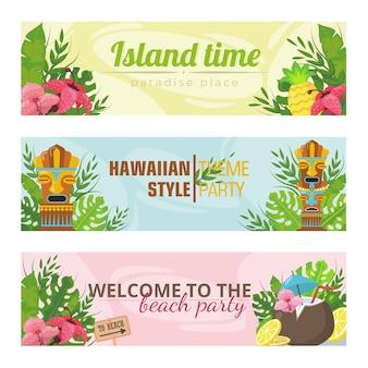 Banners de moda para la ilustración de vector de vacaciones hawaianas. tótems brillantes, flores y frutas y texto. concepto de isla y vacaciones de verano