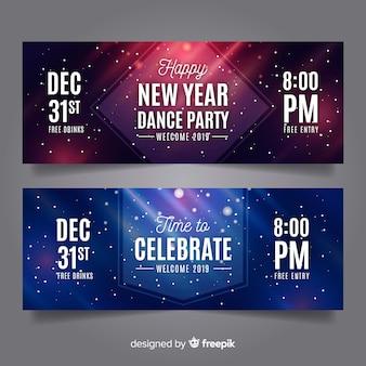 Banners modernos de año nuevo 2019