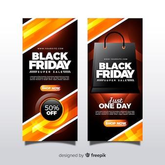 Banners modernos de black friday con diseño realista