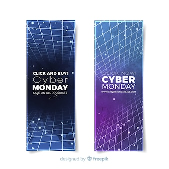 Banners modernos de cyber monday en acuarela