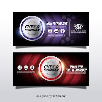 Banners modernos de cyber monday con diseño realista