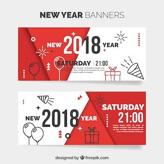 Banners modernos de año nuevo 2018