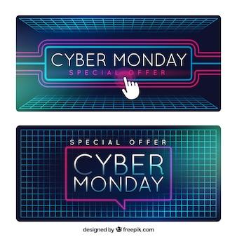 Banners modernos de cyber monday