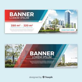 Banners modernos de edificios con foto