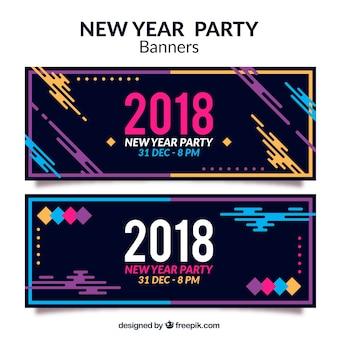 Banners modernos de fiesta de año nuevo 2018