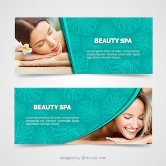 Banners modernos de spa con foto
