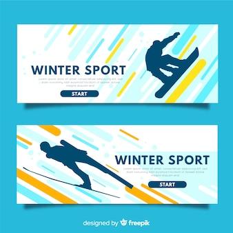Banners modernos de deportes de invierno
