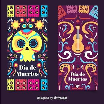 Banners modernos del día de los muertos