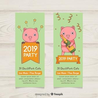Banners modernos de fiesta de fin de año 2019 dibujados a mano
