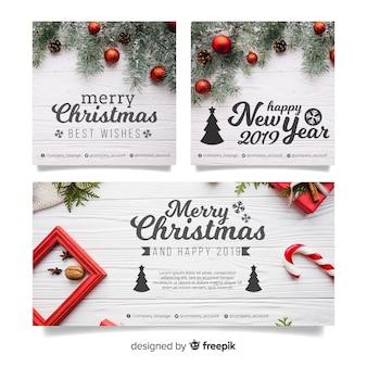 Banners modernos de navidad con foto