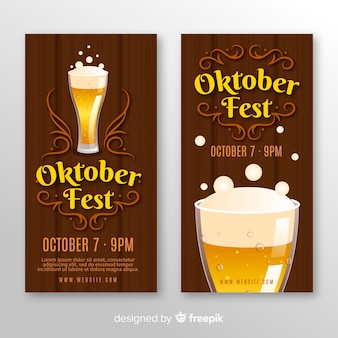 Banners modernos del oktoberfest con diseño plano